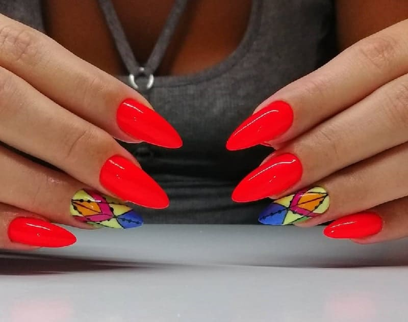 neon red nail design