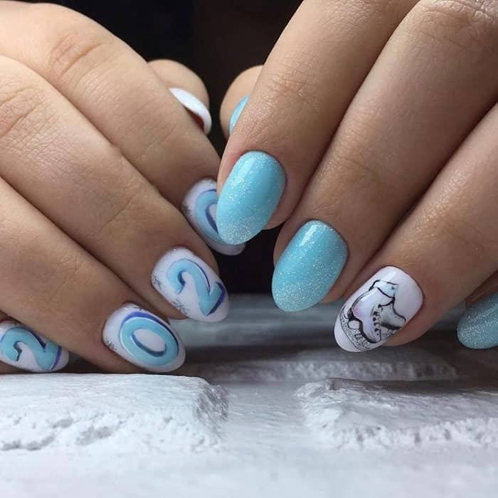 gel nail design for new year