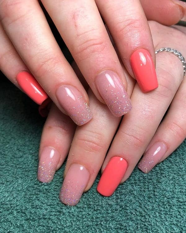 Nude And Coral Nails
