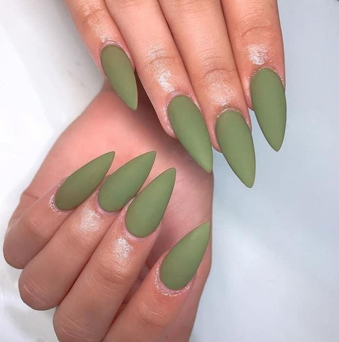 olive matte nails
