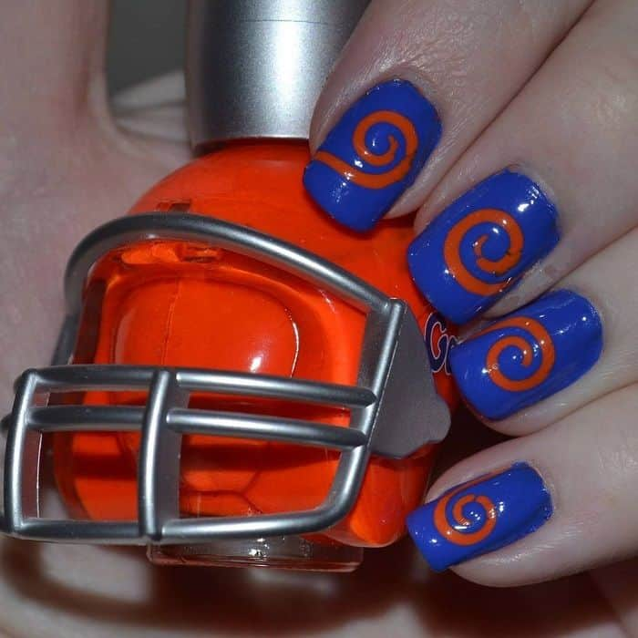 orange and blue nail designs