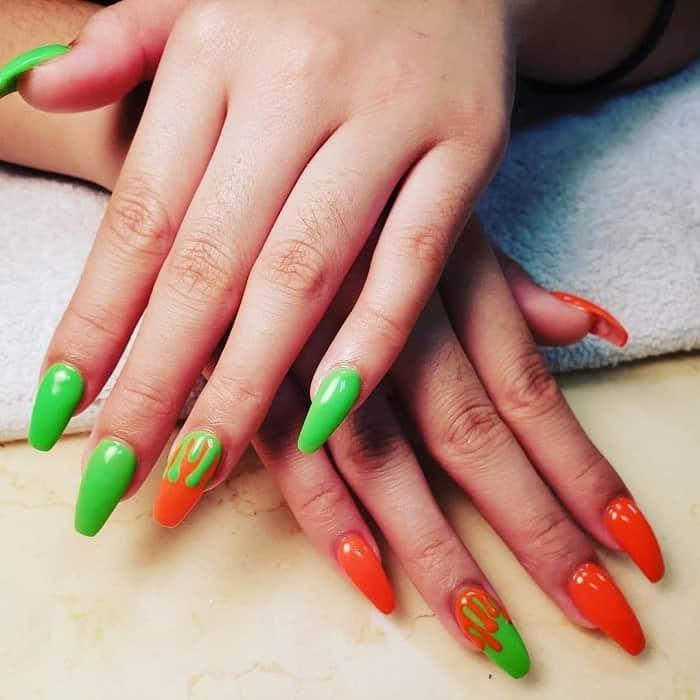 Orange And Green Nail Design