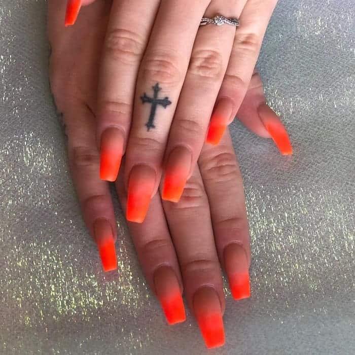 Orange Ombre Nail Art