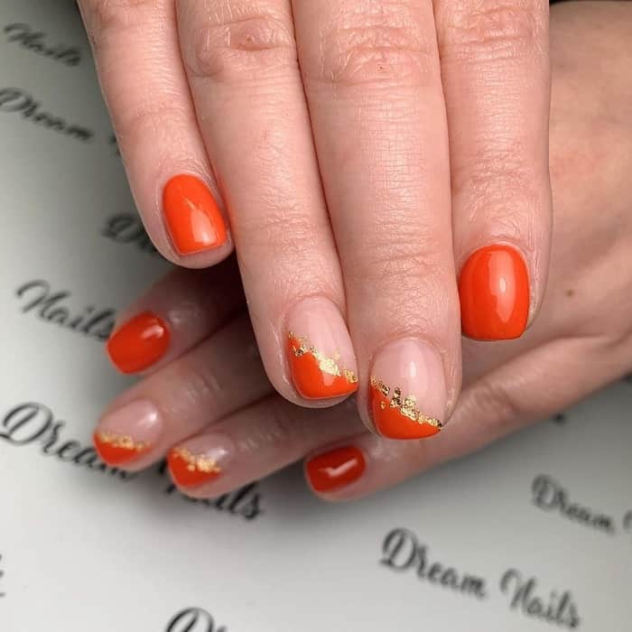 Orange Short Nails