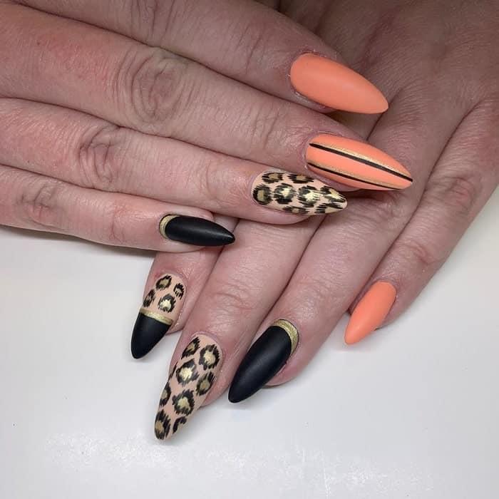 Peach And Black Nail Design