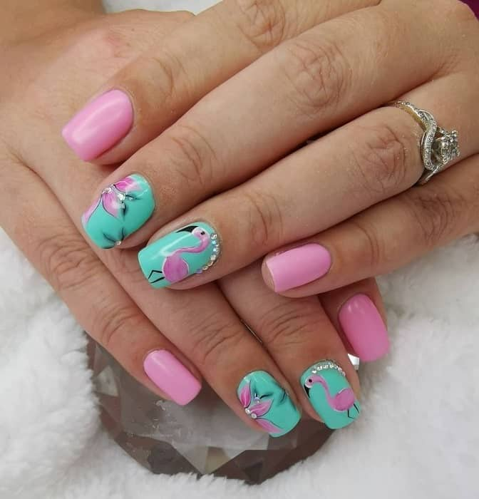 Pink And Green Nails