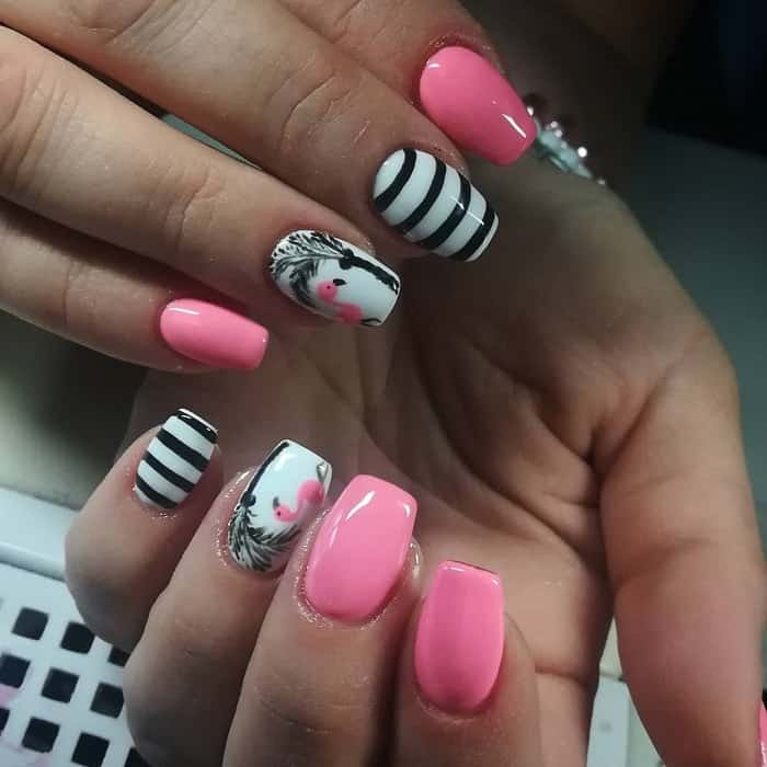 pink, black and white nail design