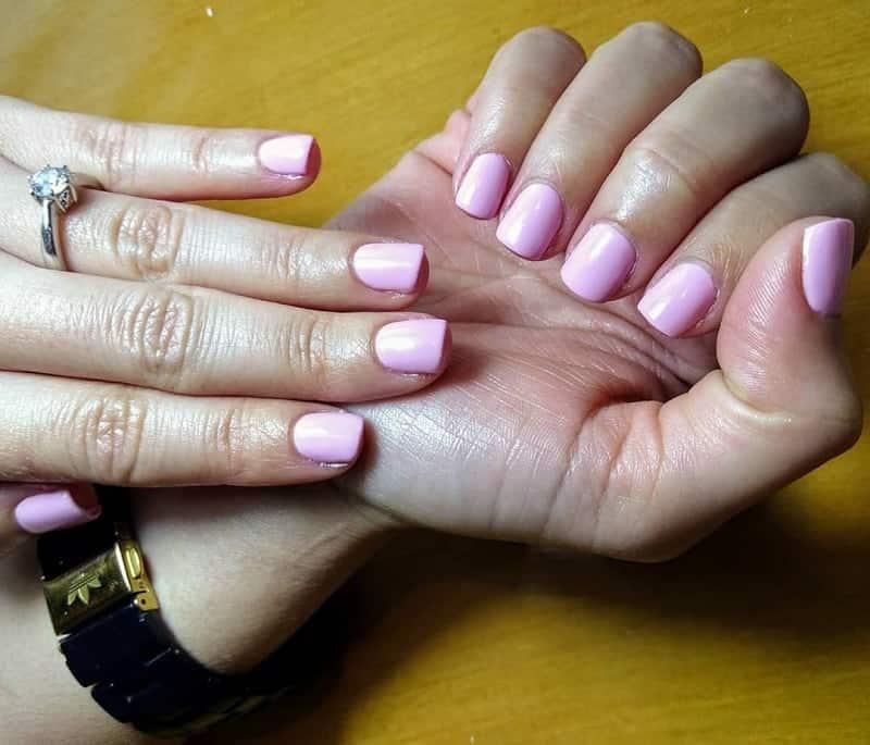 pink shellac nail design