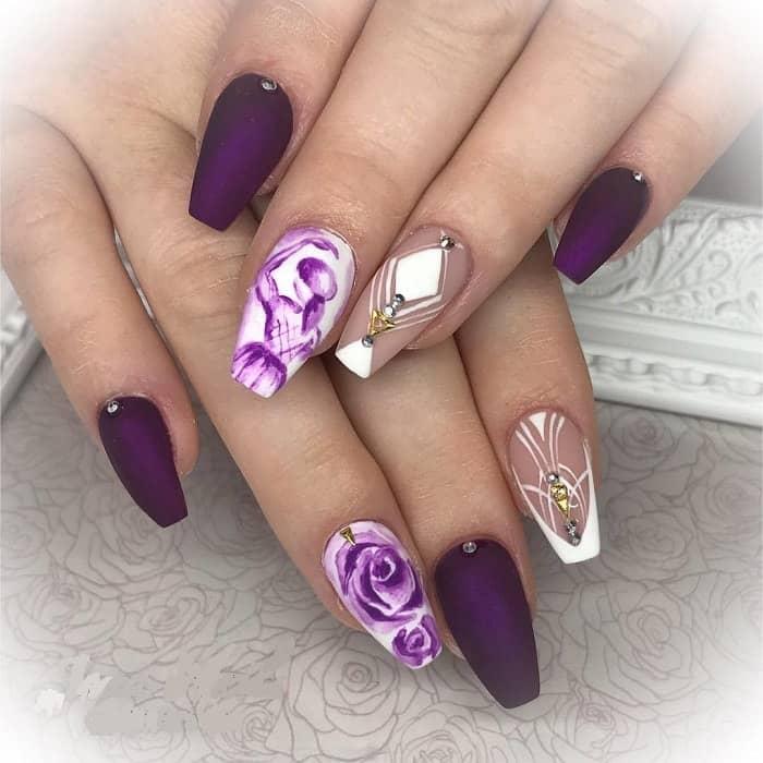 purple coffin nail art