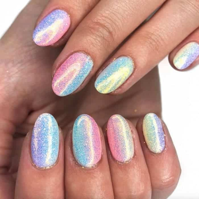 Rainbow Holographic Nails