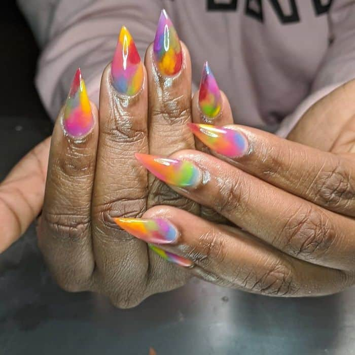 rainbow stiletto nails
