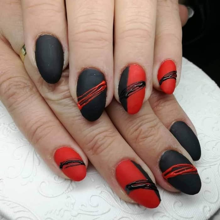 red and black matte nail art