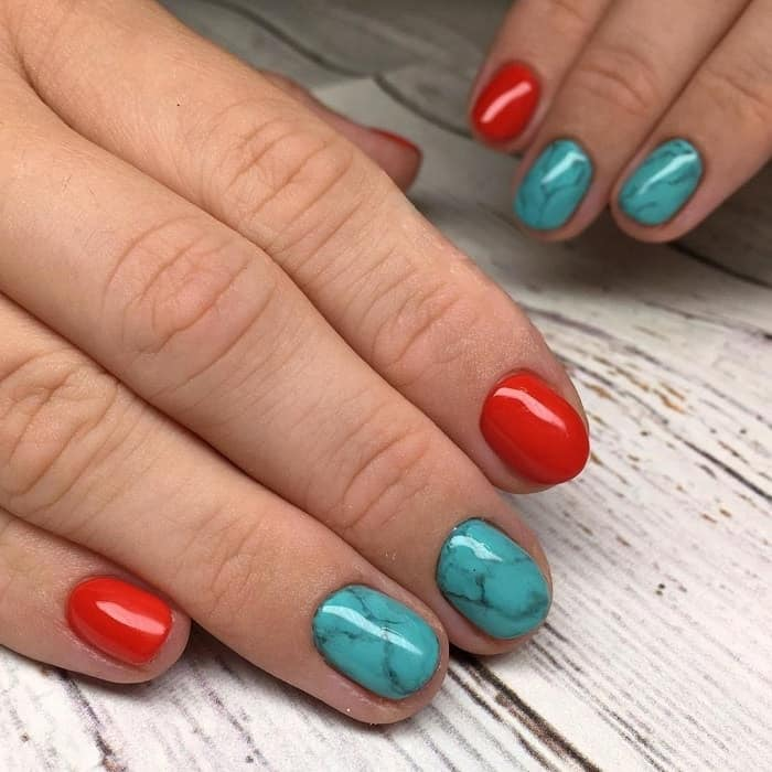 red and turquoise nails