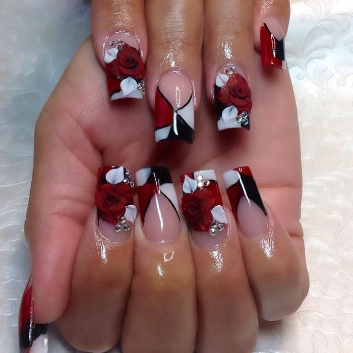 red, black and white nails