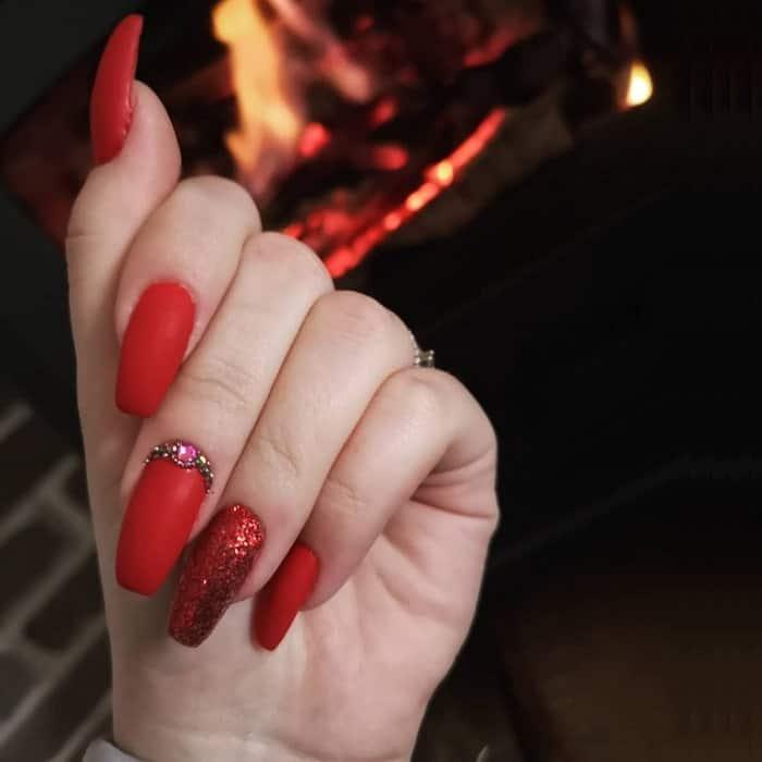 red nexgen nail design