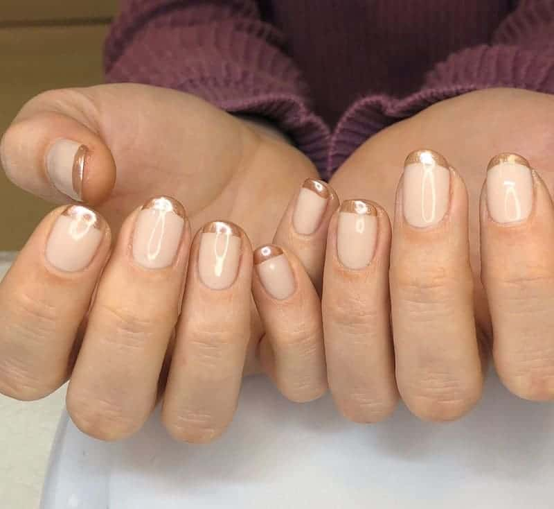 rose gold nails with french tip