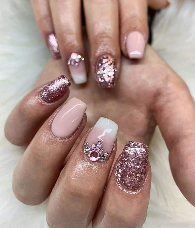 rose gold nails with diamonds