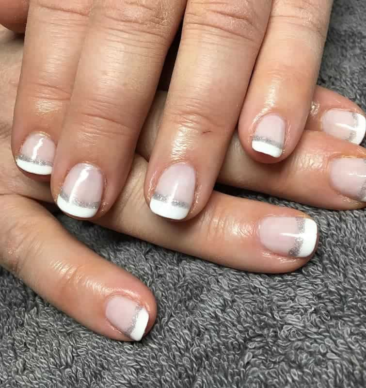 shellac nail design with french tips