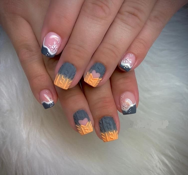 short nail design for winter