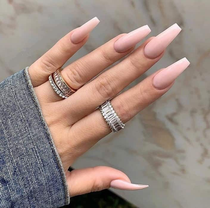 simple coffin nail design