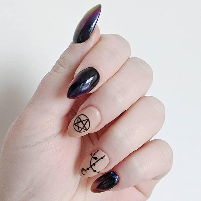 simple goth nail art