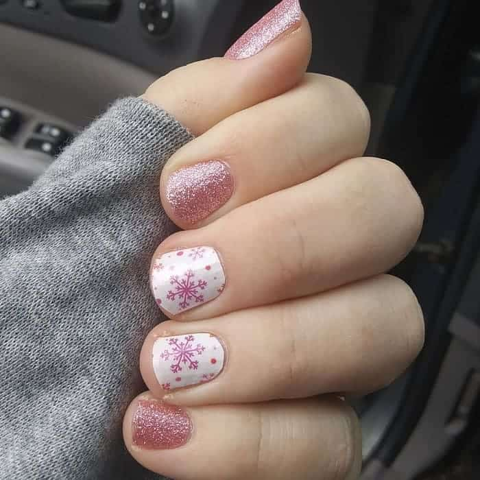 snowflake nail design with stickers