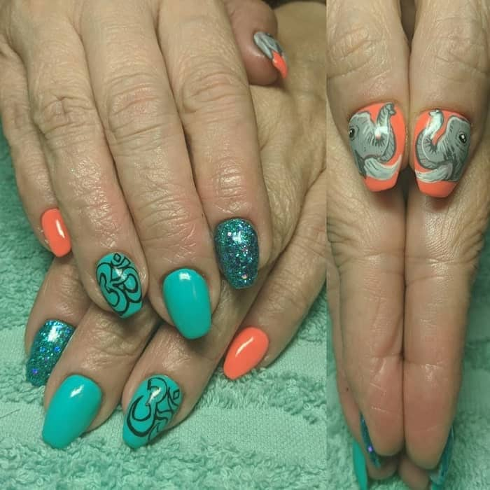 teal and coral nails