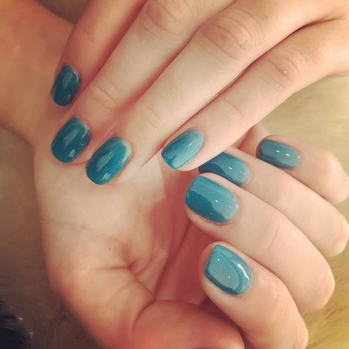 teal blue nails