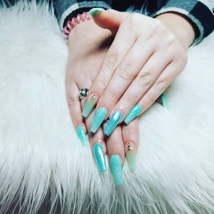 teal coffin nail design