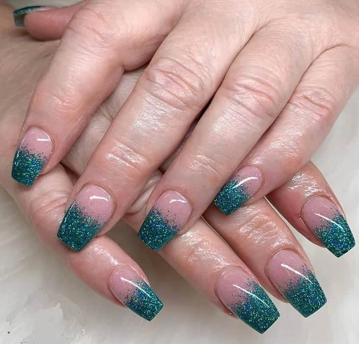 teal glitter nails