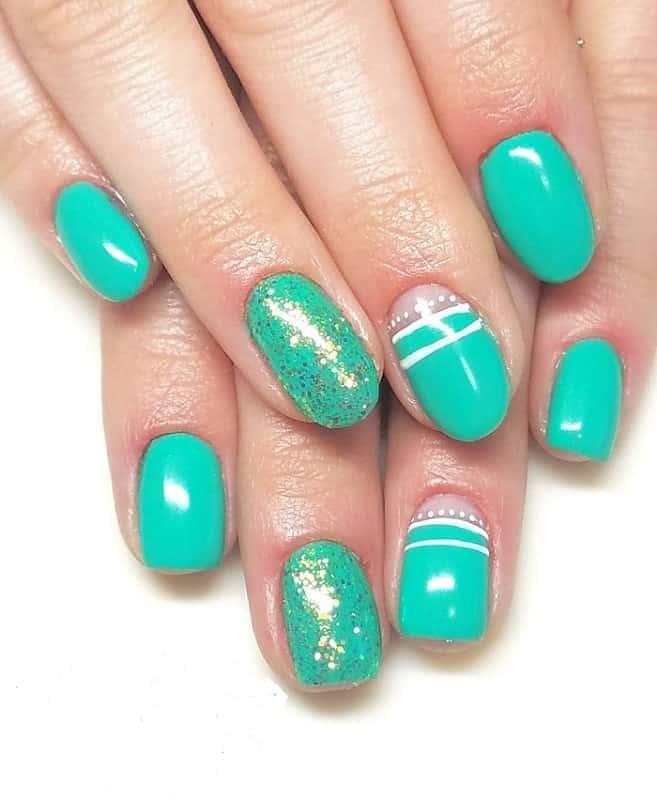 teal green nails