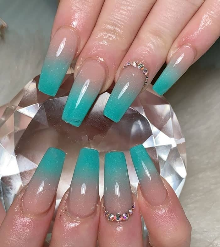 teal ombre nails