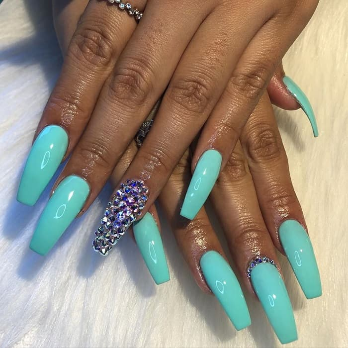 Tiffany Blue Coffin Shaped Nails