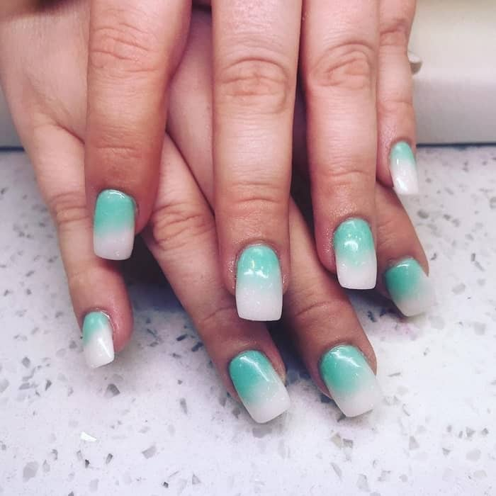 Coolest Tiffany Blue Ombre Nails