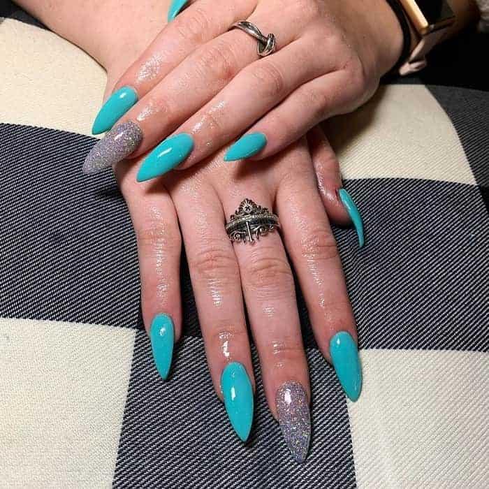 Tiffany Blue Stiletto Nails