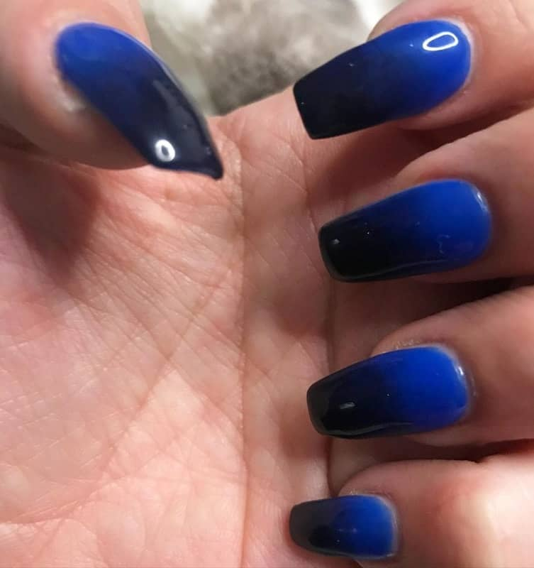 two tone blue nails