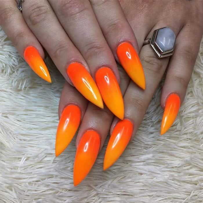 two tone orange nails