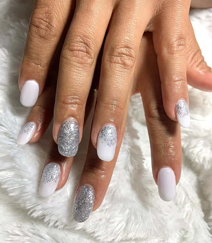 white squoval nail design