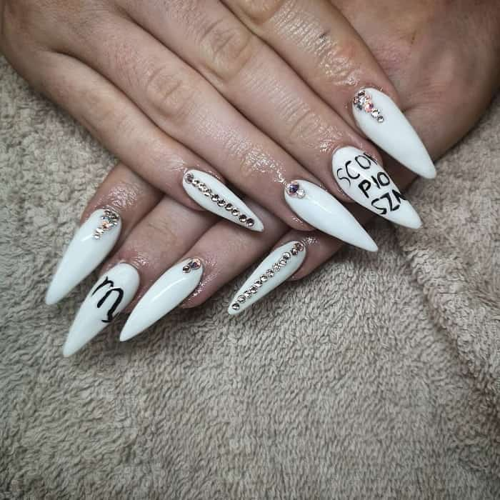 white stiletto nail art