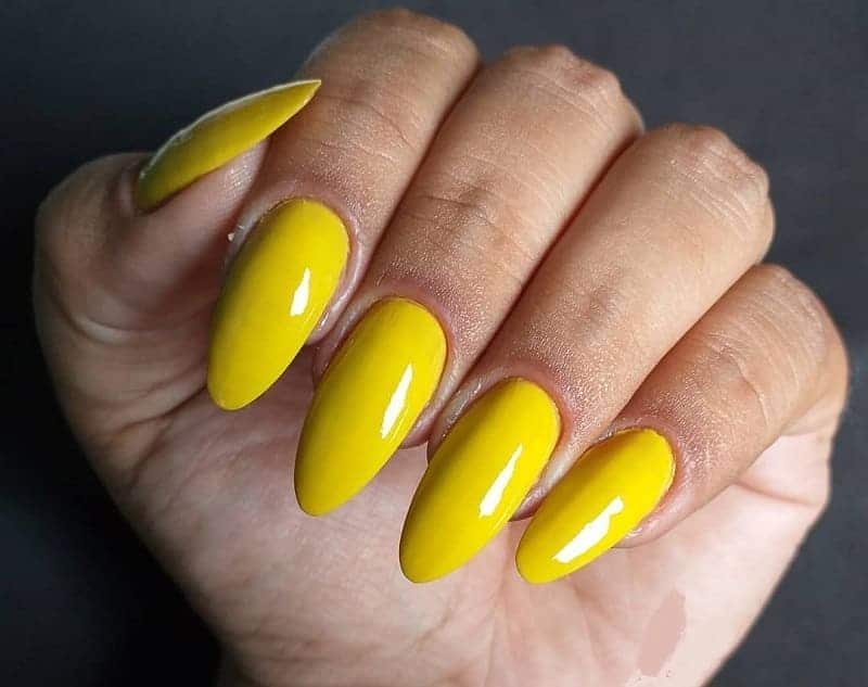 yellow almond nails
