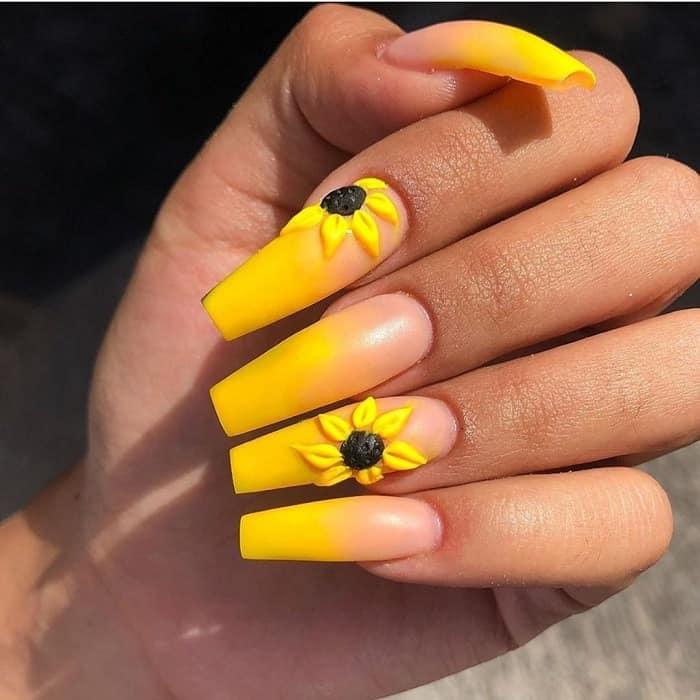 yellow ombré sunflower nails😍 #nailsimple | Sunflower