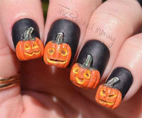 3d pumpkin nail art idea