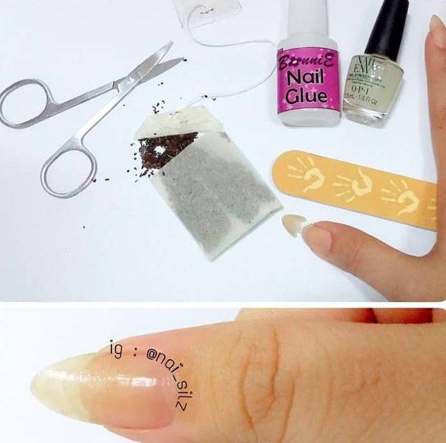 using tea bag to repair damaged nails