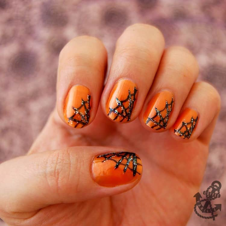 spider web pumpkin nail art