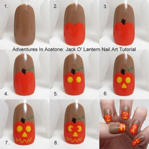 pumpkin nail art tutorial