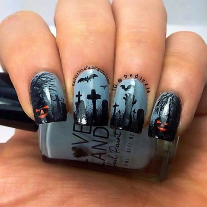 pumpkin ghost nail art