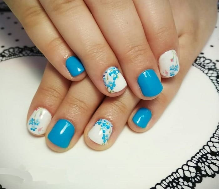 Light Blue Flower Nail Designs