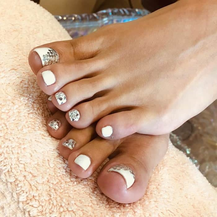 White Toe Nail Design