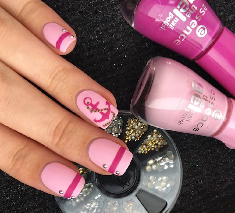 nautical pink nail designs