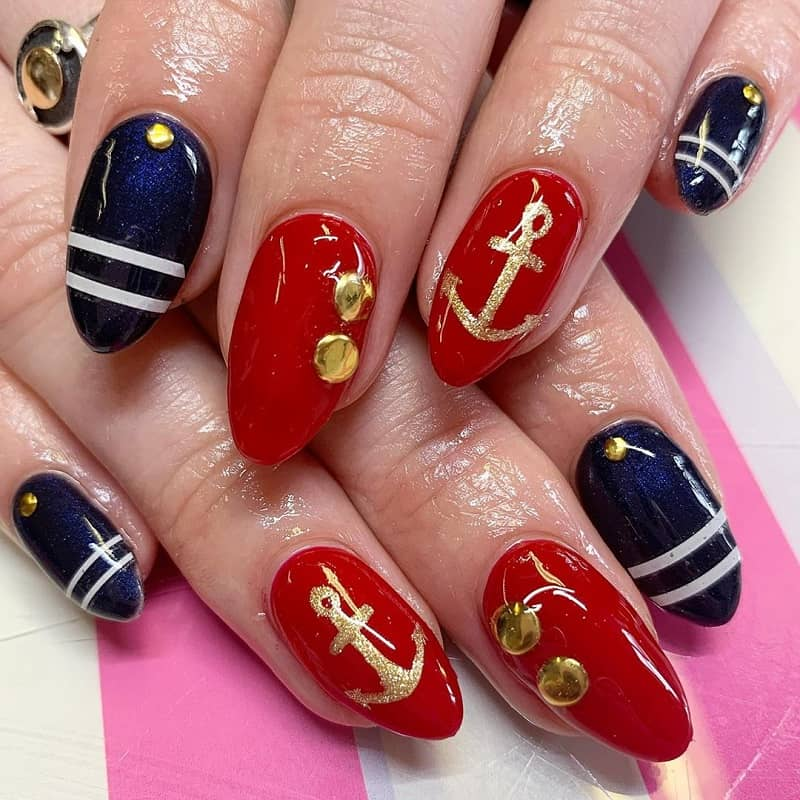 nautical acrylic nail designs